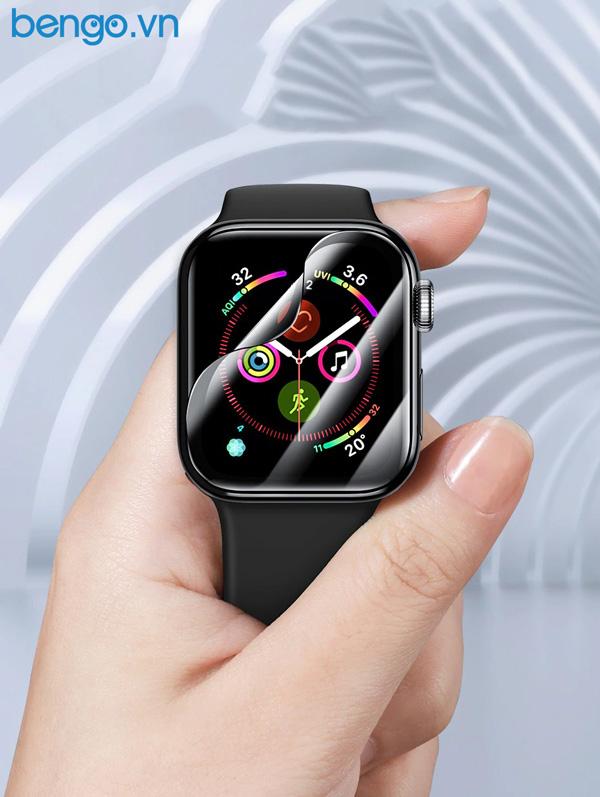 Dán màn hình Apple Watch 44mm Baseus full viền đen