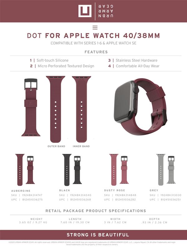 Dây đeo Apple Watch 40mm & 38mm UAG [U] DOT Silicone