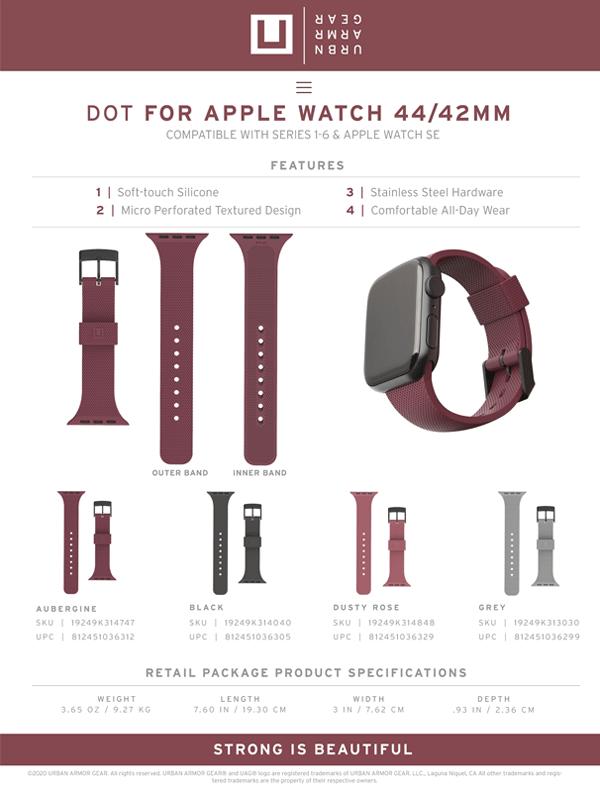 Dây đeo Apple Watch 42mm & 44mm UAG [U] DOT Silicone