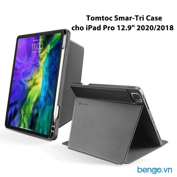 """Bao da iPad Pro 12.9"""" 2020/2018 Tomtoc (USA) Smar-Tri Case từ tính đa góc - B02-004D"""