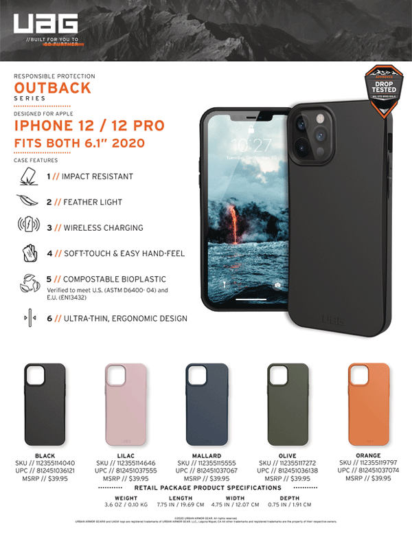 Ốp lưng iPhone 12/iPhone 12 Pro UAG Outback Bio Series