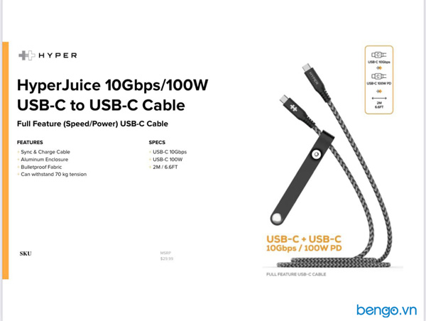 Cáp USB-C to USB-C 2m HyperJuice Data & Charging 10Gbps + 100W - HD-CBG601