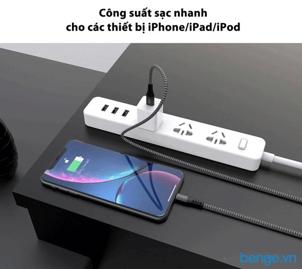 Cáp Hyperdrive Touch USB-C to Lightning 18W MFI dài 2m - HD-CLB523
