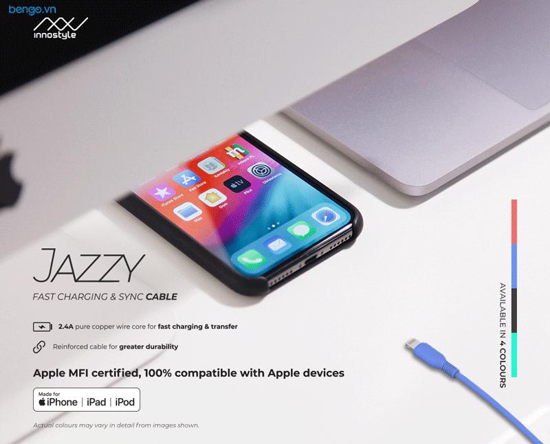 Cáp sạc INNOSTYLE JAZZY USB-C to Lightning 1.2m MFI - ICL120