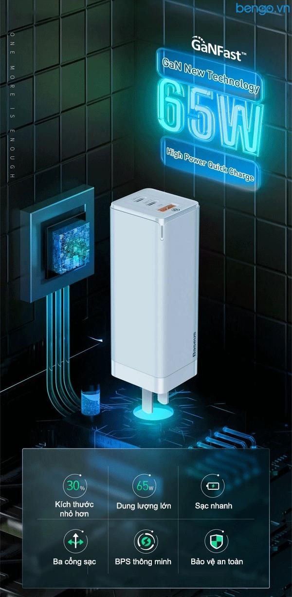 Sạc nhanh đa năng Baseus GaN Mini Quick Travel Charger 65W