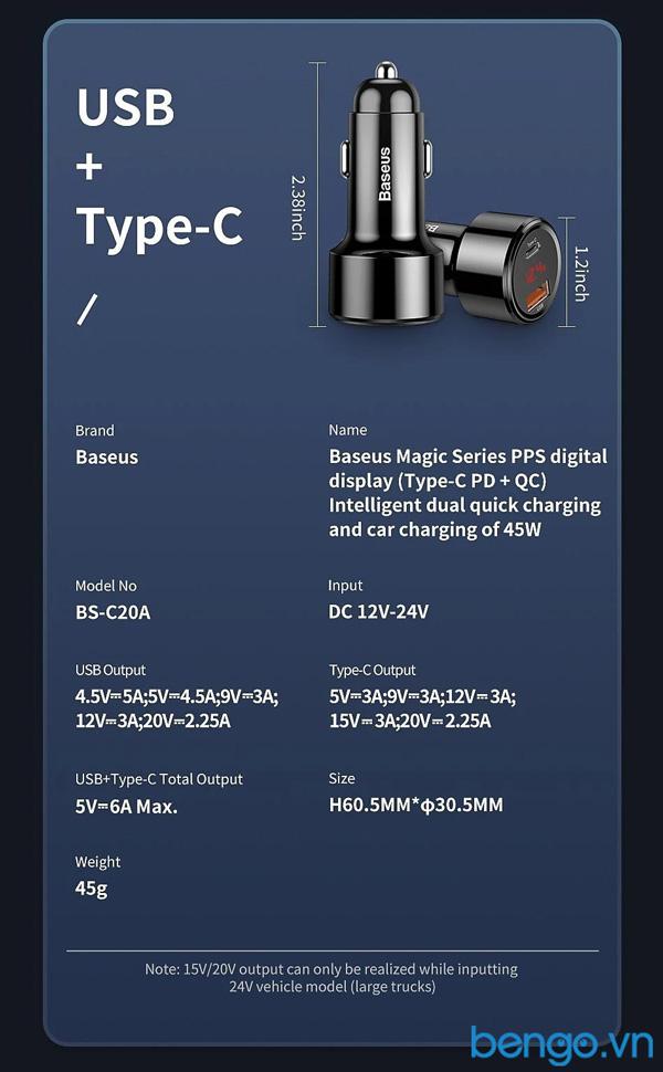 Sạc nhanh đa năng xe hơi Baseus 45W Cổng USB + USB-C PD