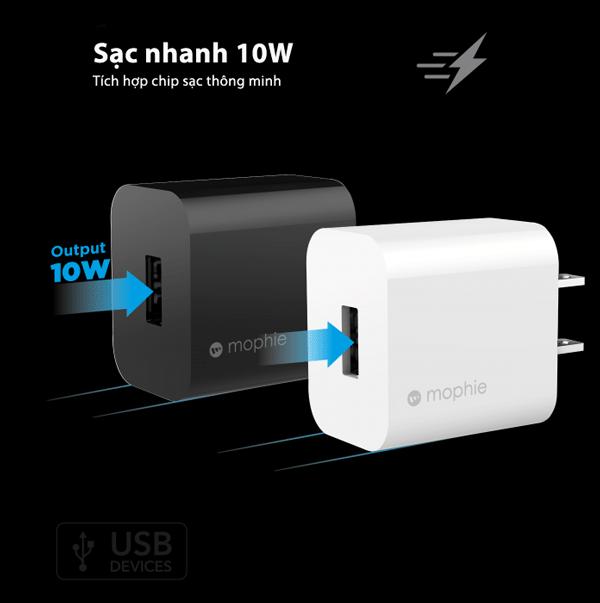 [Combo] Sạc USB-A 10W và Cáp sạc USB-A to Lightning 1m MOPHIE