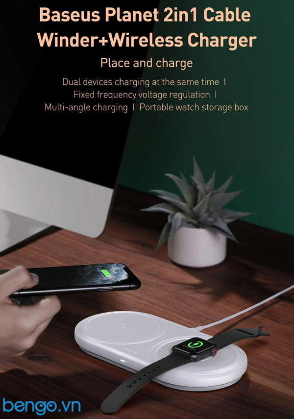 Sạc nhanh không dây tích hợp đế giữ dây sạc Apple Watch Baseus Planet 2 in 1