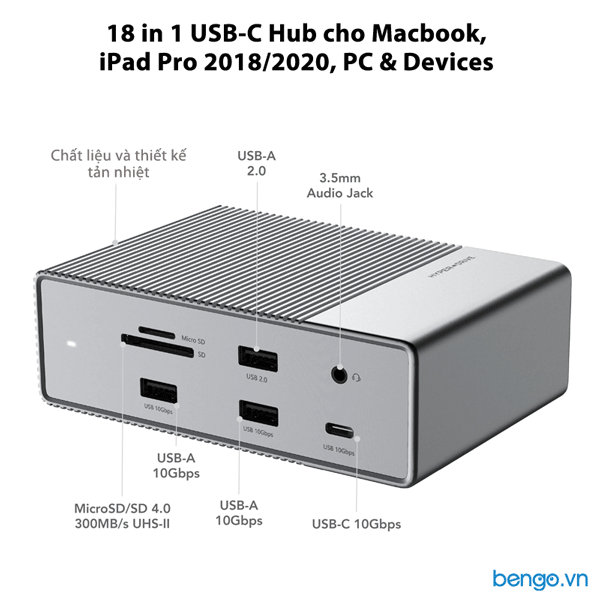 Cổng chuyển HyperDrive Gen2 18 in 1 USB-C cho Macbook, iPad Pro 2018/2020, PC & Devices - G218