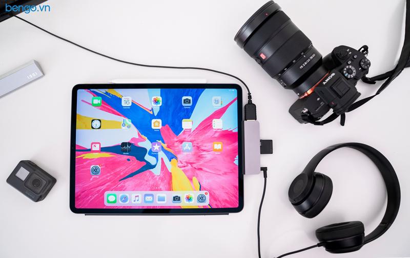 Hub 6 in 1 Hyperdrive USB-C cho iPad Pro 2018/2020 và thiết bị dùng cổng USB-C (HDMI 4K/60Hz) - HD319B