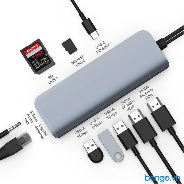 Cổng chuyển HyperDrive VIBER 10 in 2 4K/60Hz USB-C HUB cho Macbook/iPad Pro/Laptop/Smartphone - HD392
