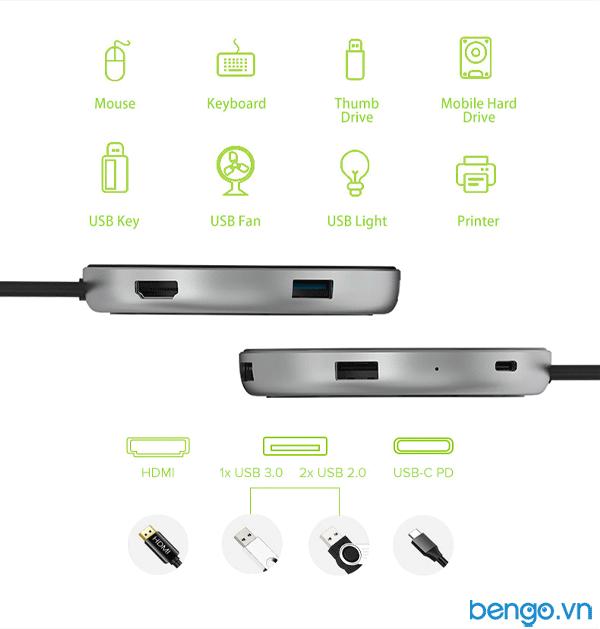Cổng nối kiêm sạc không dây JCPAL USB-C Multiport