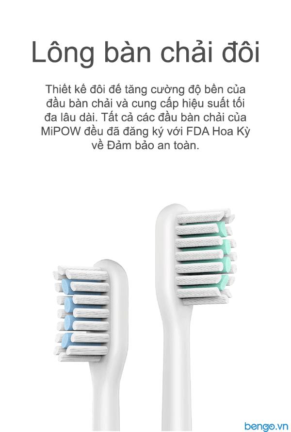Bộ 3 đầu bàn chải điện MiPOW (FDA USA)