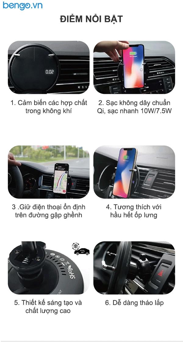 Giá đỡ kiêm sạc không dây trên xe hơi MiPow Power Clipad - SPC07S