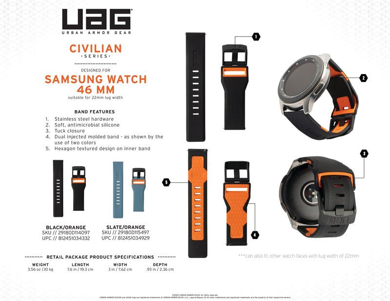 Thông số kỹ thuật của dây đeo Galaxy Watch UAG chính hãng